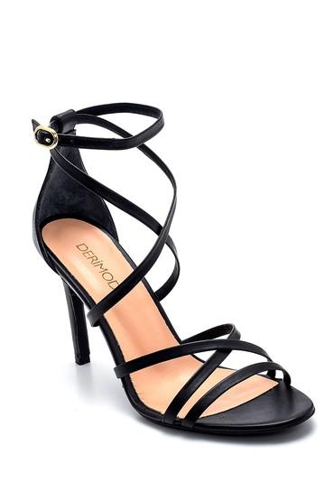 Siyah Kadın Deri Topuklu Ayakkabı 5638282460