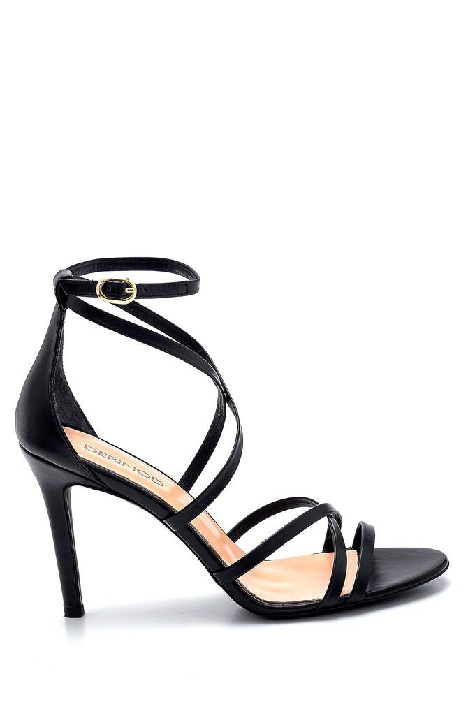 Siyah Kadın Deri Topuklu Sandalet 5638282460