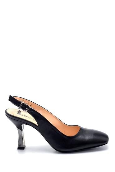 Siyah Kadın Deri Aksesuar Detaylı Stiletto 5638281196