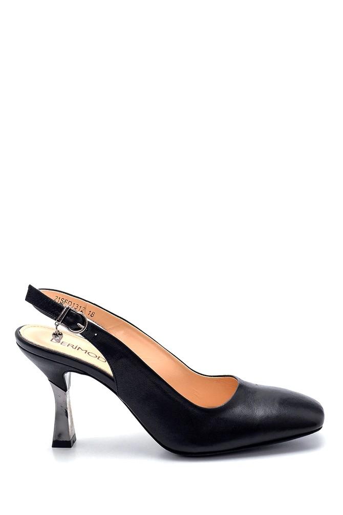 Siyah Kadın Deri Aksesuar Detaylı Stiletto 5638281208