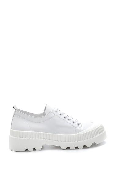 Beyaz Kadın Deri Sneaker 5638281302