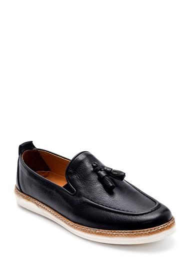 Siyah Erkek Deri Püskül Detaylı Loafer 5638273266