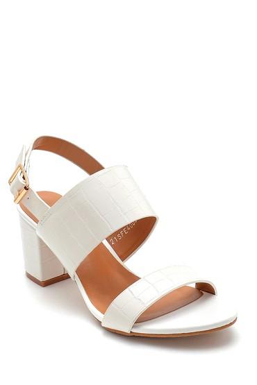 Beyaz Kadın Kroko Desenli Sandalet 5638271683