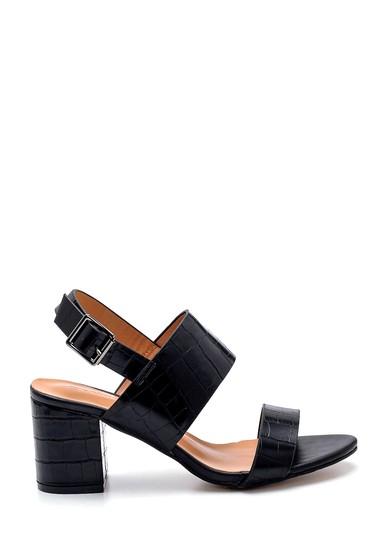 Siyah Kadın Kroko Desenli Sandalet 5638271682