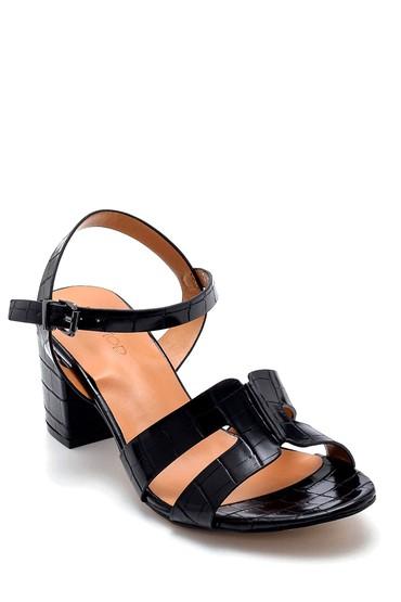 Siyah Kadın Kroko Desenli Sandalet 5638271708
