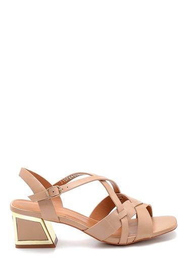 Bej Kadın Topuk Detaylı Sandalet 5638271755