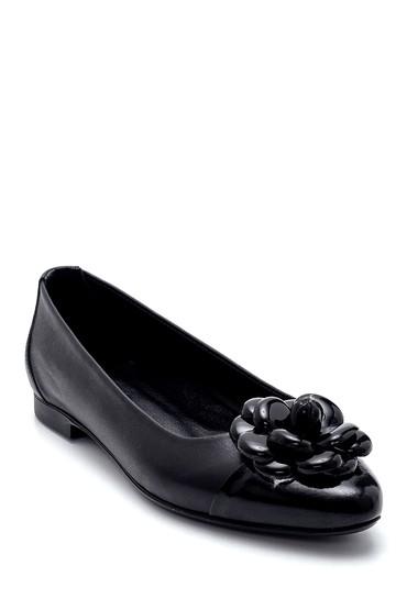 Siyah Kadın Deri Çiçek Detaylı Babet 5638266015