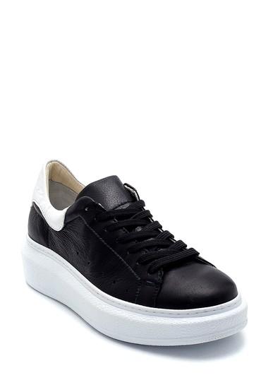 Siyah Kadın Deri Sneaker 5638291338
