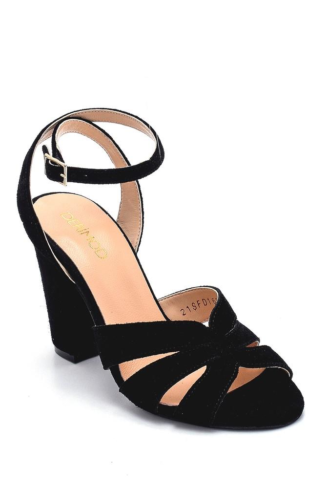 5638291453 Kadın Süet Topuklu Sandalet