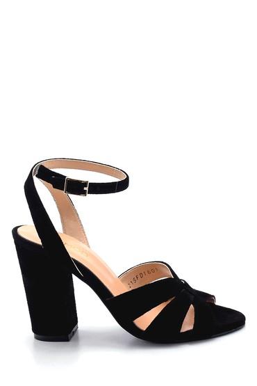 Siyah Kadın Süet Topuklu Sandalet 5638291453