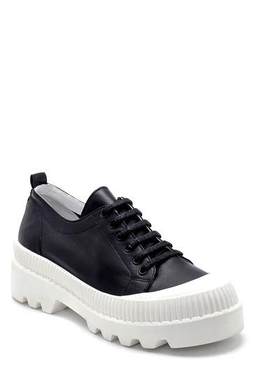 Siyah Kadın Deri Sneaker 5638281304