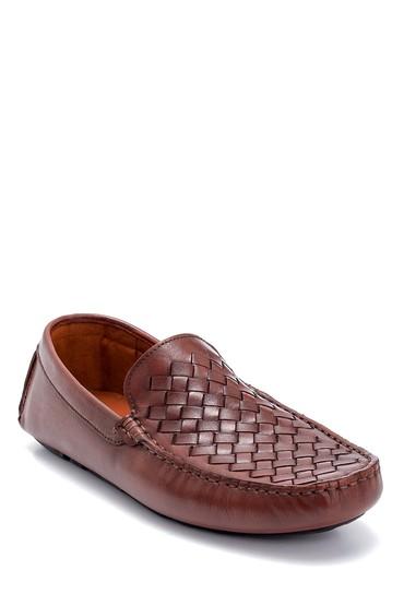 Taba Erkek Deri Örgü Detaylı Loafer 5638250471