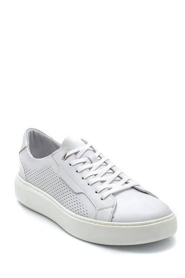 Beyaz Erkek Deri Baskılı Sneaker 5638254801