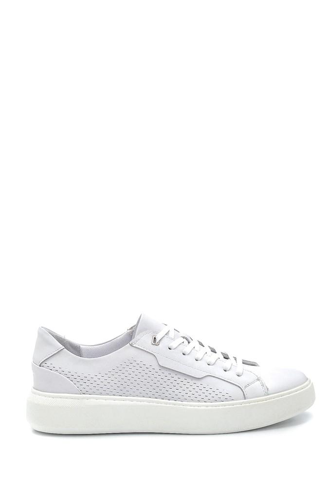 Beyaz Erkek Deri Baskılı Sneaker 5638254819