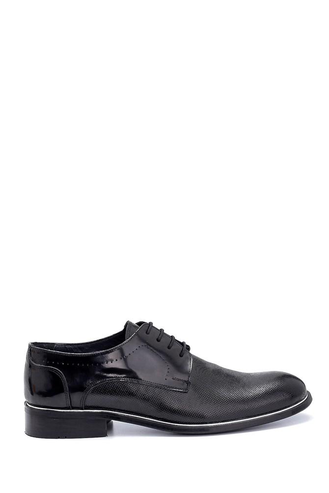 Siyah Erkek Deri Baskılı Klasik Ayakkabı 5638256936