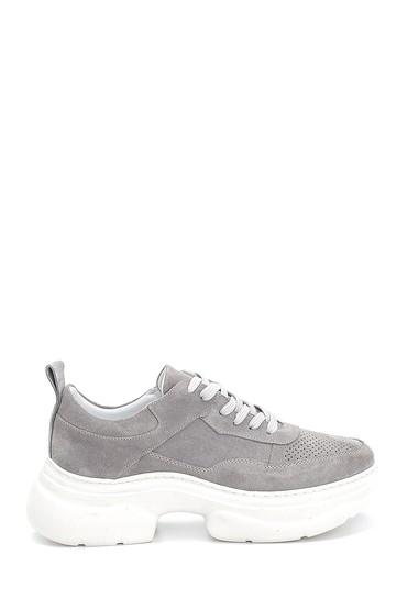 Gri Kadın Süet Deri Kalın Tabanlı Sneaker 5638284618
