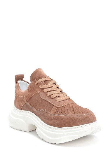 Kahverengi Kadın Süet Deri Kalın Tabanlı Sneaker 5638284620