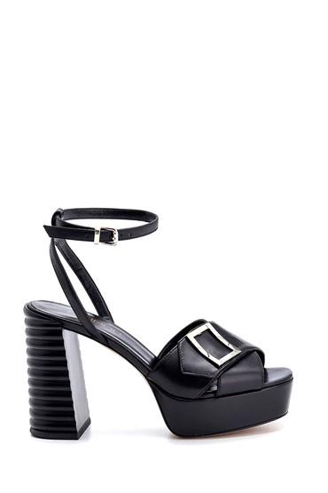 Siyah Kadın Deri Topuklu Sandalet 5638294780