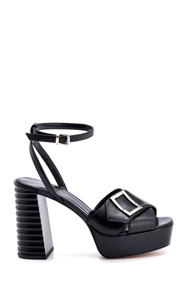 Siyah Kadın Deri Topuklu Sandalet 5638294796