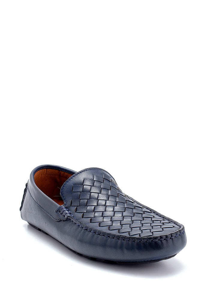 5638250481 Erkek Deri Örgü Detaylı Loafer