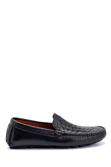 Siyah Erkek Deri Örgü Detaylı Loafer 5638250473