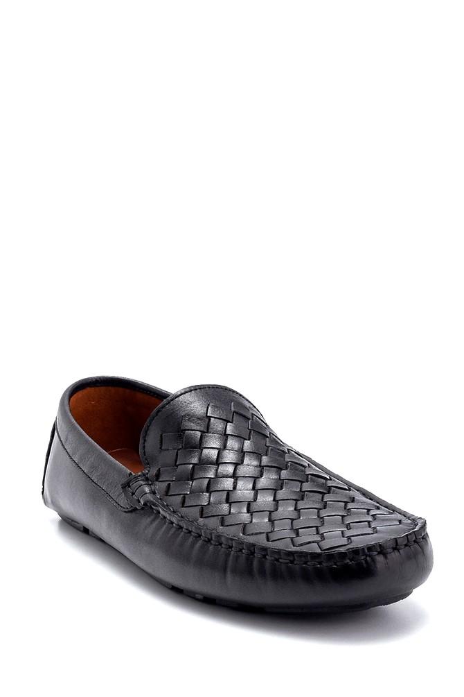5638250473 Erkek Deri Örgü Detaylı Loafer