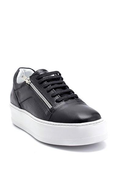 Siyah Erkek Deri Fermuar Detaylı Sneaker 5638275527