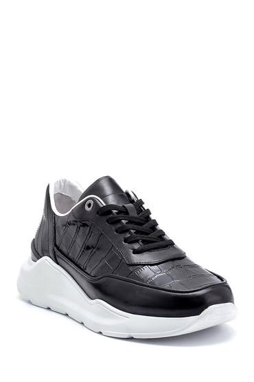 Siyah Erkek Kroko Desenli Sneaker 5638275809