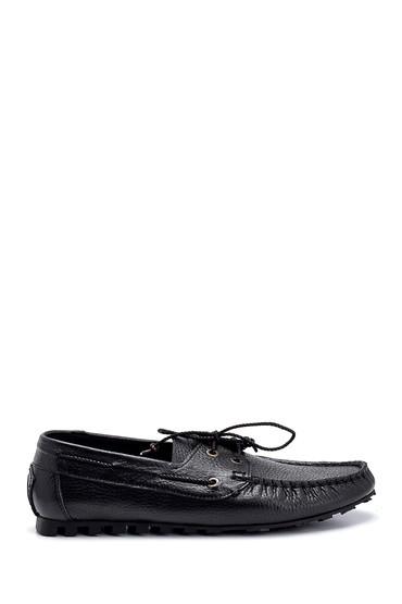 Siyah Erkek Deri Bağcık Detaylı Casual Ayakkabı 5638275974