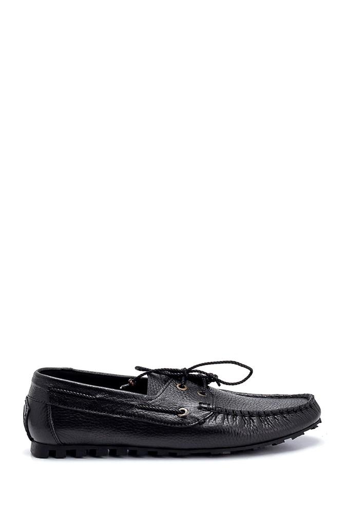 Siyah Erkek Deri Bağcık Detaylı Casual Ayakkabı 5638275990