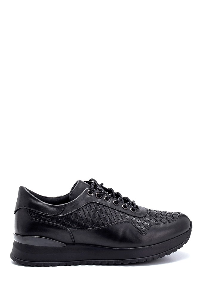 Siyah Erkek Deri Sneaker 5638291604