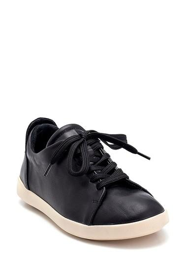 Siyah Kadın Deri Sneaker 5638291843