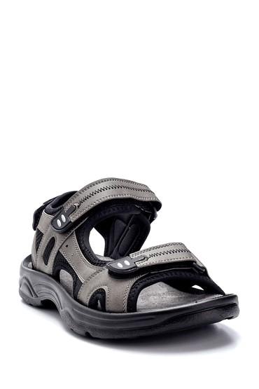 Gri Erkek Deri Sandalet 5638259495