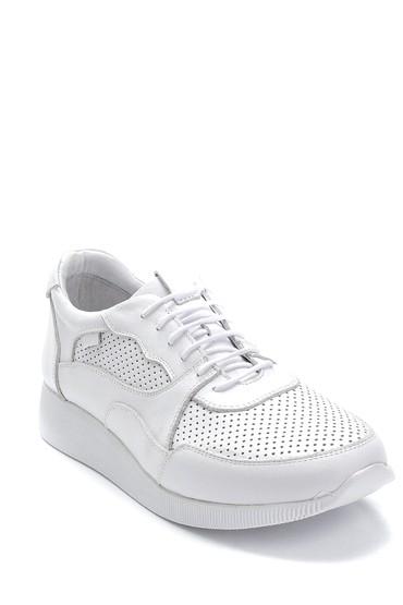 Beyaz Kadın Deri Sneaker 5638265616