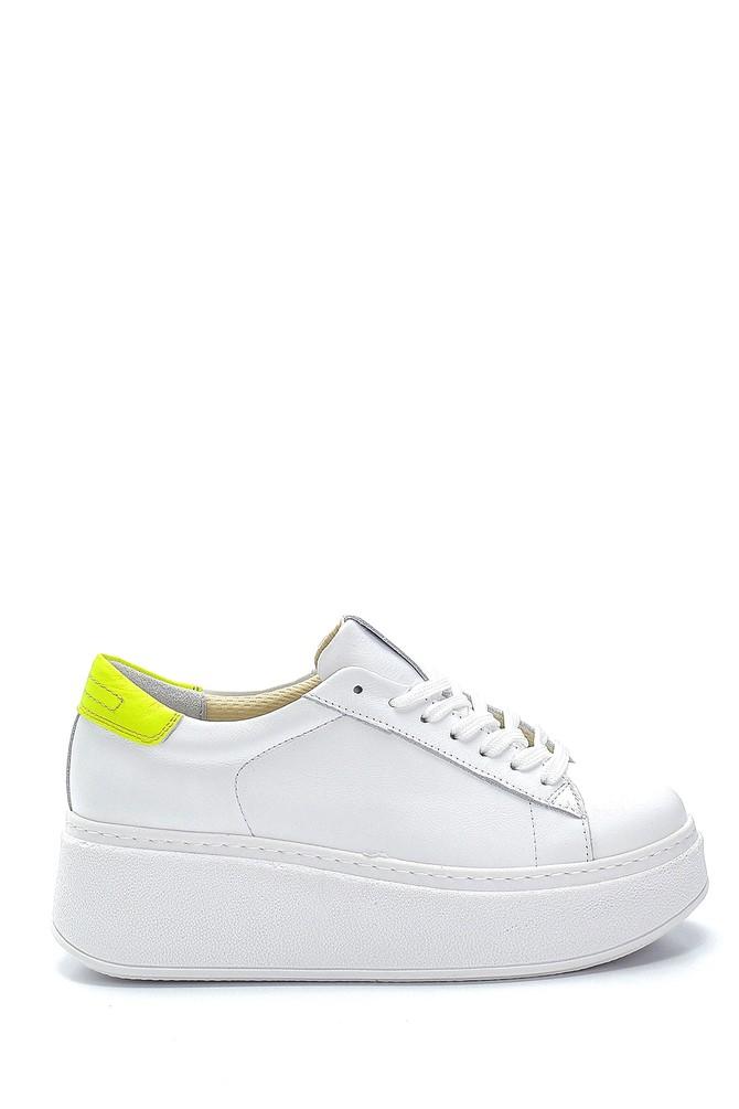 Beyaz Kadın Deri Yüksek Tabanlı Sneaker 5638272930