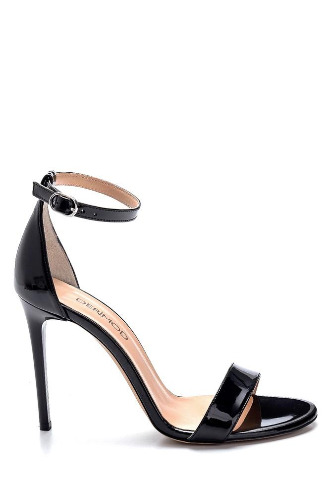 Siyah Kadın Rugan Yüksek Topuklu Sandalet 5638273615