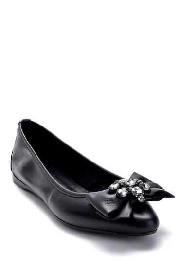 Siyah Kadın Deri Taş Detaylı Babet 5638266052