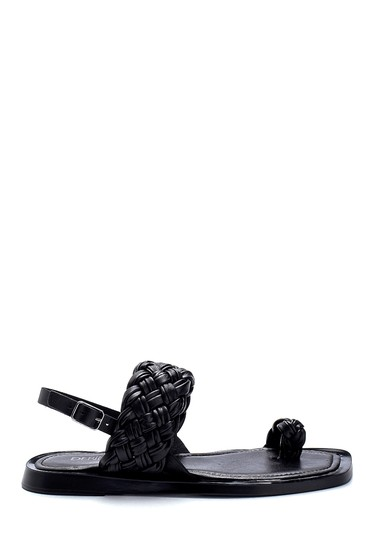 Siyah Kadın Deri Örgü Detaylı Sandalet 5638262097
