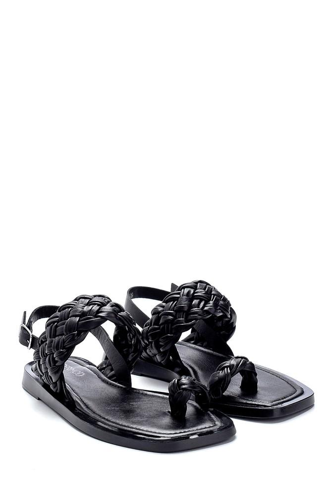 5638262097 Kadın Deri Örgü Detaylı Sandalet