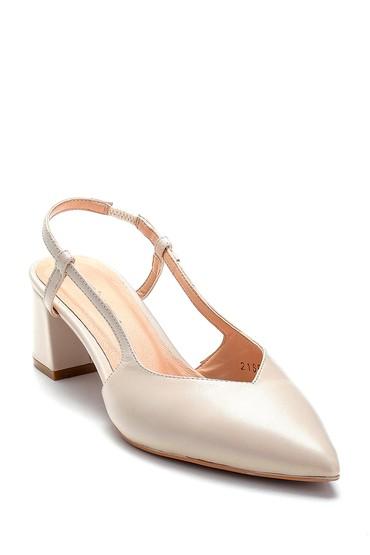 Bej Kadın Deri Kalın Topuklu Ayakkabı 5638282470