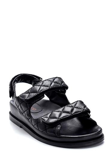 Siyah Kadın Deri Sandalet 5638286906