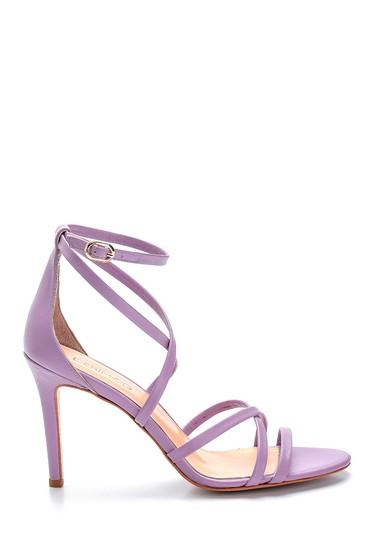 Lila Kadın Deri Topuklu Sandalet 5638289114