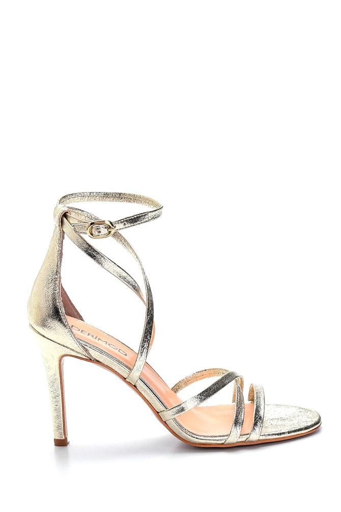 Altın Kadın Deri Metalik Yüksek Topuklu Ayakkabı 5638289129