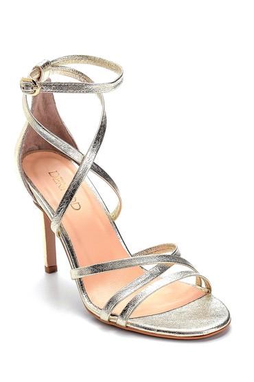 Altın Kadın Deri Metalik Yüksek Topuklu Sandalet 5638289129