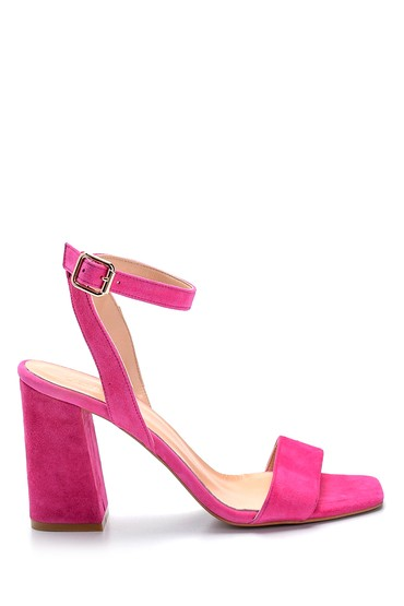 Pembe Kadın Süet Yüksek Topuklu Sandalet 5638291512