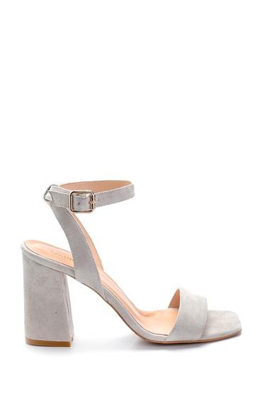 Gri Kadın Süet Yüksek Topuklu Sandalet 5638291510