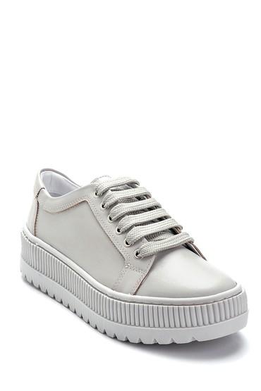 Gri Kadın Deri Sneaker 5638292366