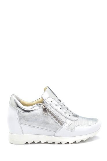 Gümüş Kadın Deri Fermuar Detaylı Sneaker 5638272904
