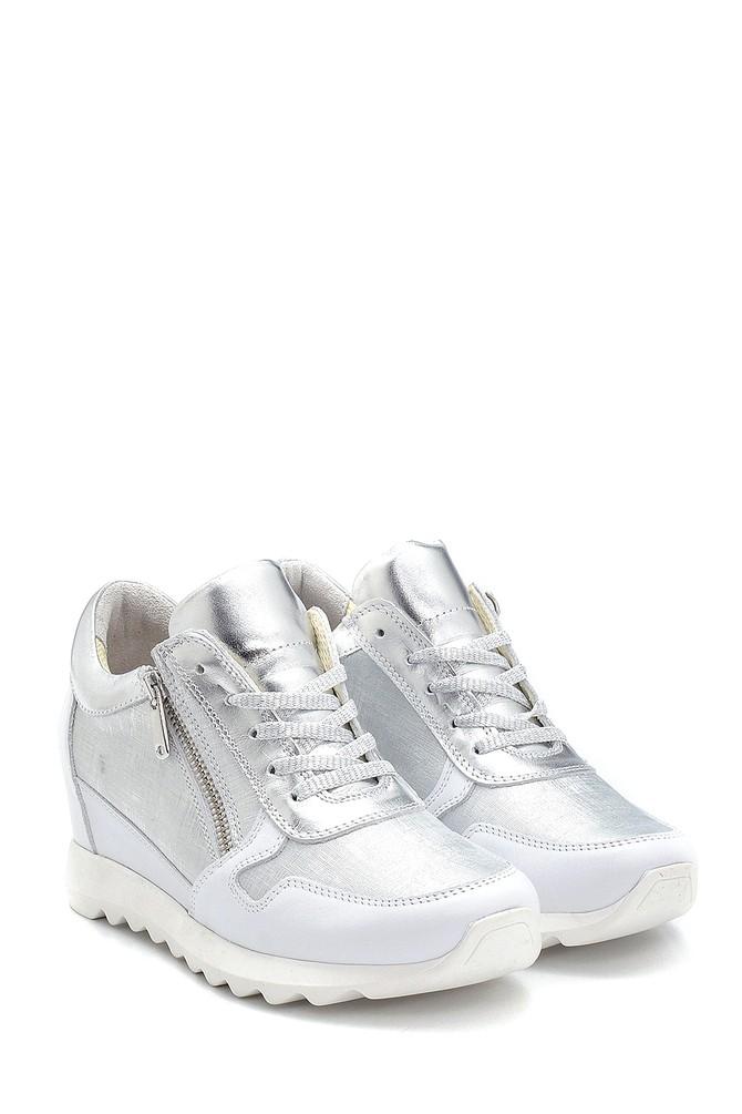 5638272904 Kadın Deri Fermuar Detaylı Sneaker