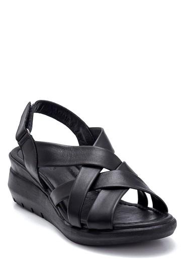 Siyah Kadın Deri Kalın Tabanlı Sandalet 5638268329